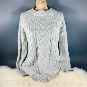 TOPSHOP Pale Grey Cabled Pullover Sweater 10